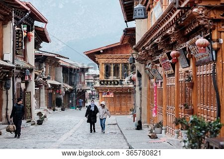 Street And Architecture Building At Dukezong Old Town, Located In Zhongdian City ( Shangri-la). Land