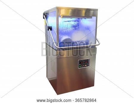 Glass / Bowl / Dish Washer Machine ; Isolated White