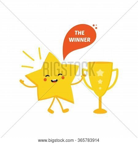 Cartoon Style Vector Shining Star Character Celebrating Triumph, Holding Trophy Cup In Hand.
