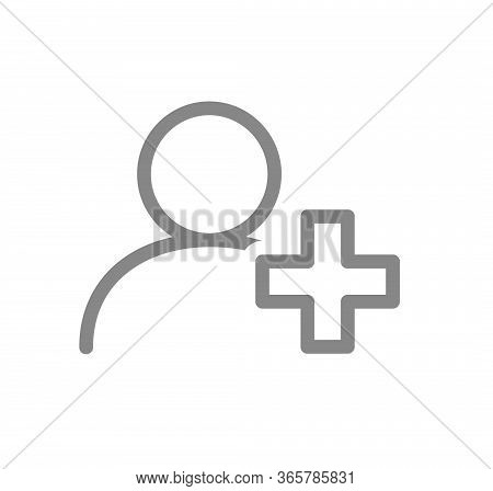 User Profile With Cross Line Icon. Doctor, Physician In Social Network Symbol