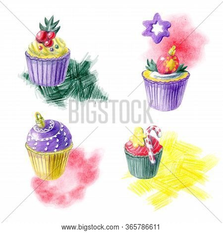 Hand Painted Christmas Arrangments With Cupcakes, Abstract Spots And Different Decorations. Yellow,
