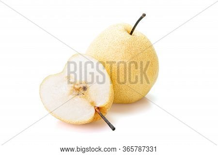 Chinese Pear, (asian Pear, Korean Fruit, Nashi) Isolated On White Background. Inclouding Clipping Pa