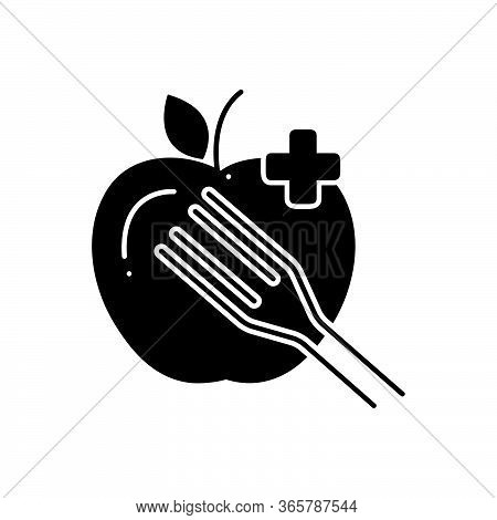 Black Solid Icon For Dietary-food Healthy Nutritious Fork-spoon