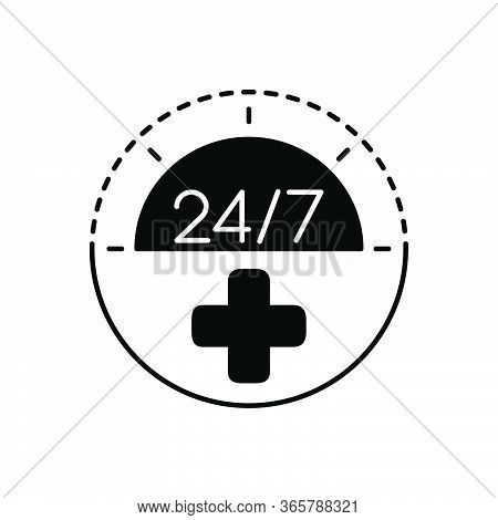 Black Solid Icon For Twenty-four-by-seven Medical-service Convenience Medical Service