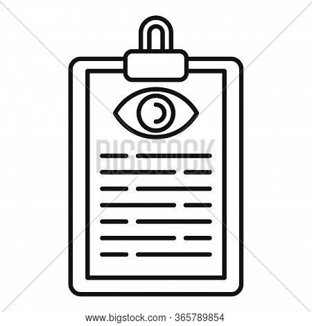 Eye Examination Card Icon. Outline Eye Examination Card Vector Icon For Web Design Isolated On White