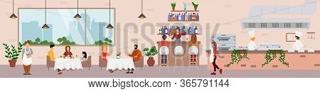 Restaurant Catering Food Service, Vector Flat Illustration