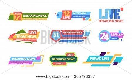 News Title Set. Web Headline Television Online Media Information Color Bar, Daily Broadcast Of News