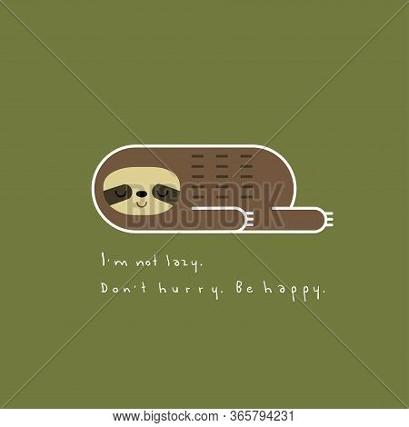 Vector Illustration Of Lovely Lazy Sloth In Linear Geometric Style Lying On A Green Background. Be H