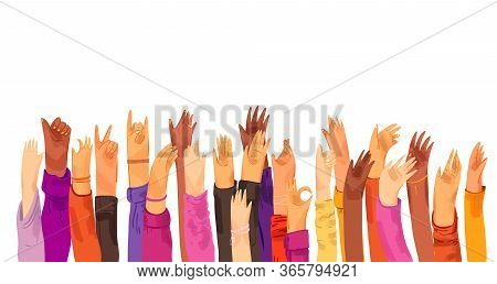 Vector Flat Illustration Of Raised Up Human Hands, Multiracial. Concept Of Education, Business Train