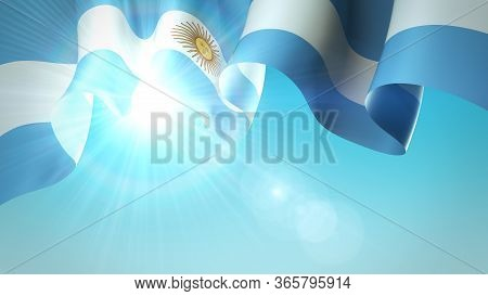 The Sun Shines With Golden Rays Through The Waving Flag Of Argentina. Argentina Waving Flag On Blue