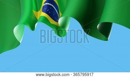 Brazil Waving Flag On Blue Sky For Banner Design. Brazil National Waving Flag Isolated On Blue Backg