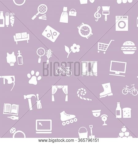 Shops, Seamless Pattern, Monochrome, Lilac, Vector. Different Categories Of Goods. White Icons On A