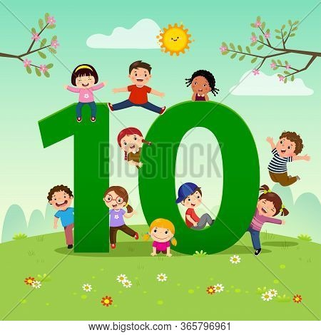 Flashcard For Kindergarten And Preschool Learning To Counting Number 10 With A Number Of Kids.