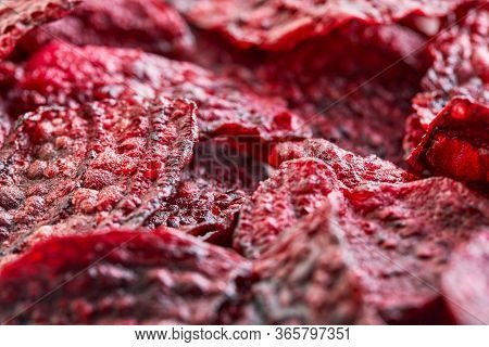 Diet Healthy Eating Concept. Healthy Purple Baked Beets Or Dried Beets With Sea Salt. Background Tex