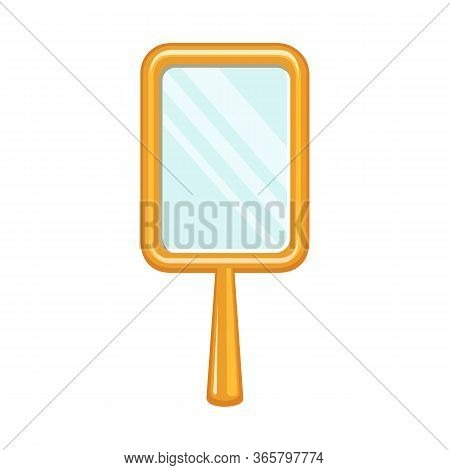 Isolated Object Of Mirror And Gold Logo. Web Element Of Mirror And Handle Stock Symbol For Web.