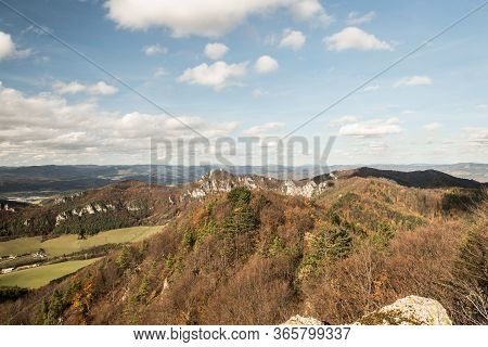 View From Kecka Hill Above Sulov-hradna Village In Sulovske Skaly Mountains In Slovakia During Beaut