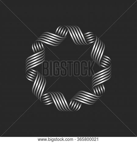 Ornamental Blank Round Frame Monogram, Circle Border Geometric Shape Overlapping Thin Curved Lines,