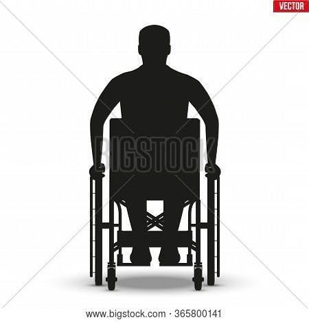 Silhouette Of Disabled Man In Wheelchair. Disability Man Sitting In Wheelchair And Hold Wheel. Front