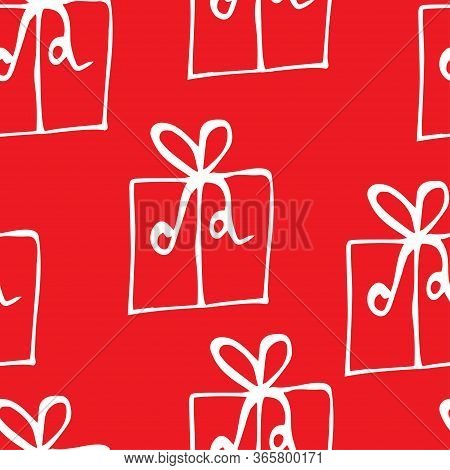Vector Seamless Pattern Of Sketch Gift Boxes On Red Background.vector Seamless Sketch Pattern Of Gif