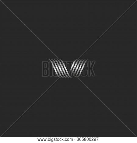 Ornamental Letter V Logo Monogram, Overlapping Thin Curved Lines, Wave Shape Metal Stripes