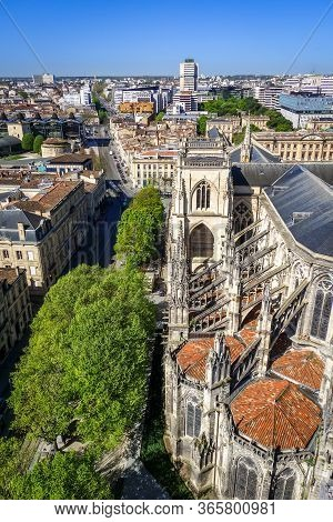 City Of Bordeaux And Saint-andre Cathedral Aerial View From The Pey-berland Tower, France