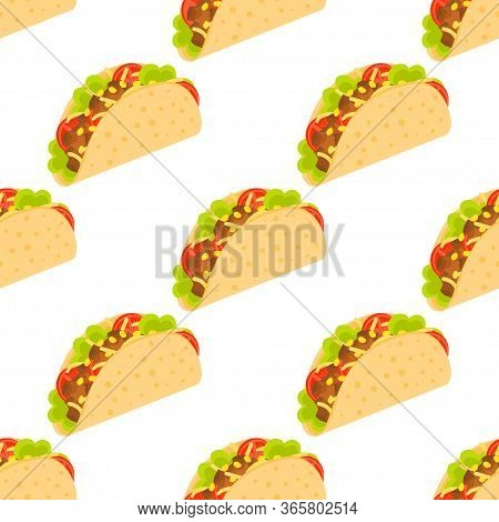 Tacos Seamless Pattern. Mexican Taco In Wheat Tortillaon. Traditional Tacos Isolated On White Backgr
