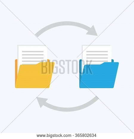 Folders With Paper Files. Files Transfer. Documents Management. Copy Files, Data Exchange, Backup Ve
