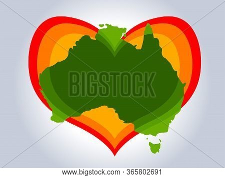 Save Australia Vector Illustration. Australia Continent Green Silhouette With Red Gradient Heart On