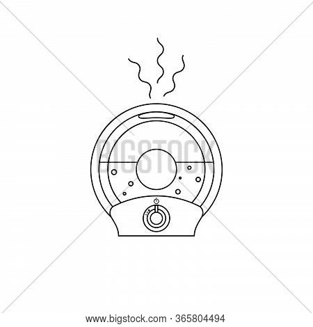 Icon Round Humidifier With Outgoing Steam Humidify In Outline Style. Vector Illustration