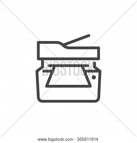 Thin Icon Printing And Scanning Documents, Printer. Such Line Sign As Isolated Multifunction Copier