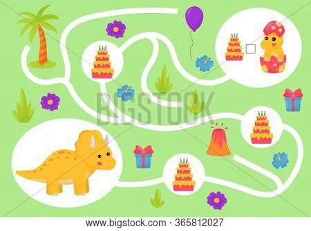 Educational Maze Game For Preschool Kids. Help The Triceratops Collect All Cakes. Learn Count And Wr