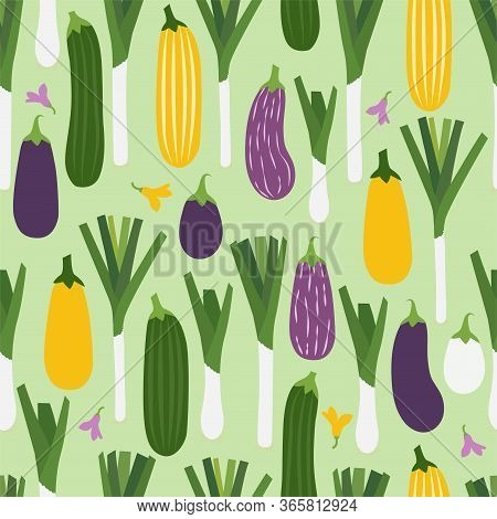 Cartoon Aubergine, Zucchini And Leek. Colored Seamless Vector Patterns In Flat Style. Isolated Patte