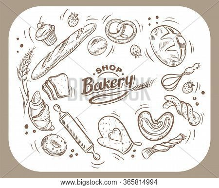 Vector Card Design With Drawn Baking Illustration. Bakery Or Bakehouse Menu.