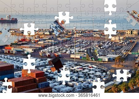 Assorted Jigsaw Puzzle Of The Port Terminal With Containers, New Cars, And Wagons In The Early Morni