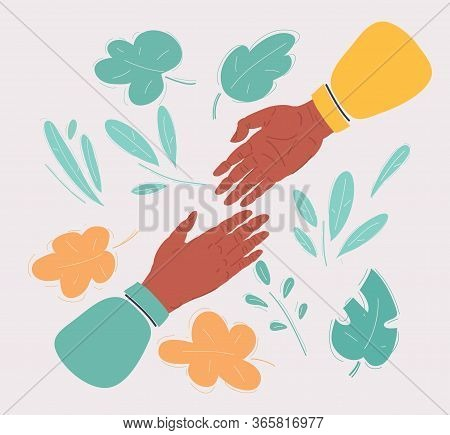 Vector Illustration Of Af Two Hands Reaching For Each Other
