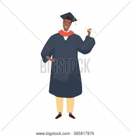 Black Skin Male Graduate Student Demonstrate Degree Certificate Vector Flat Illustration. Smiling Af