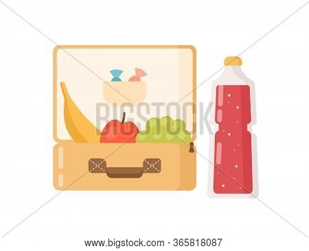 Colorful Lunchbox With Fresh Fruit, Sweet And Juice In Bottle Vector Flat Illustration. Cartoon Food