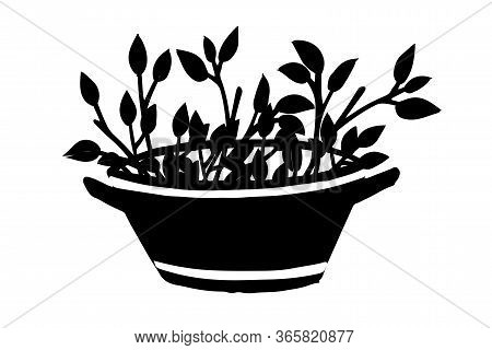 Black Silhouette Metal Basin Branch With Leaves In Garden Basin With Dirt Creative Design Flat Vecto