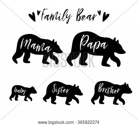 Family Bear Mama Bear, Papa, Sister, Brother, Baby Bear Set. Family Clip Art. Black Bear Family Prin