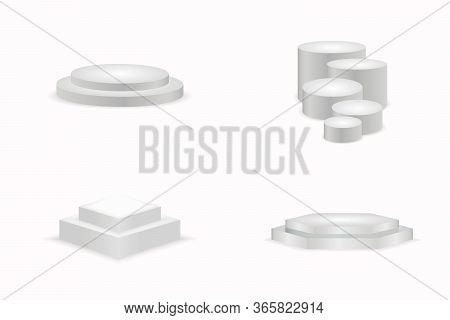 White Podiums. Round And Square 3d Empty Podium With Steps. Round And Square Empty Stages And Podium