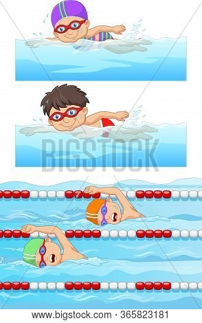 Vector Illustration Of Swimming Sport Banners Set With Swimmers In The Swimming Pool
