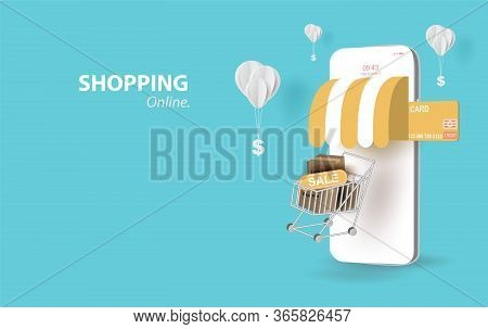 Paper Art Of Smartphone For Online Shopping Your Text Space Background, Shopping Cart Floating On Mo