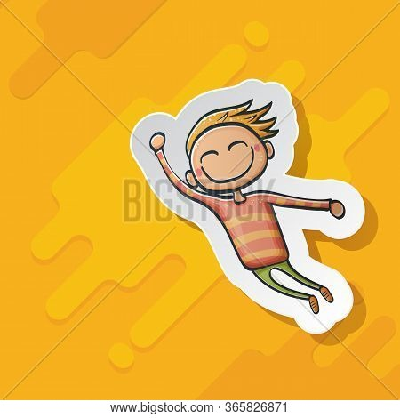 Cartoon Cute Funny Boy Isolated On Orange Background, Cartoon Happy Children With Funny Hair. 1 June