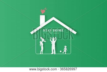 Stay Home On Eco Environment Background.stay Safe With Home Icon Against Virus.happy Family Concept