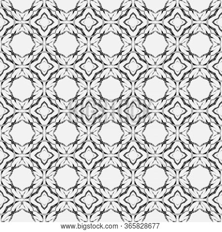Chevron Watercolor Pattern. Black And White Shapely Boho Chic Summer Design. Green Geometric Chevron