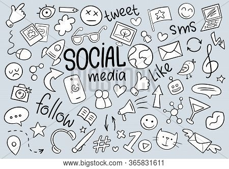 Black And White Social Media Doodle Background With Like, Robot, Smile, Earth, Hearts, Phone, Glasse