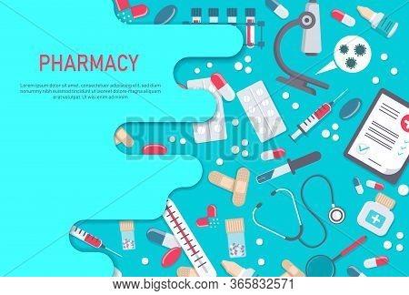 Pharmacy frame with pills, drugs, medical bottles. Drugstore vector flat illustration. Medicine vector illustration. Pharmacy background, pharmacy desing, pharmacy templates. Medicine, pharmacy, hospital set of drugs with labels. Medication, pharmaceutics