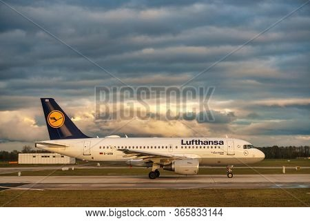 Germany, Munich - Circa 2020: Lufthansa Airline Airplane Getting Ready For Landing Or Take Off At Mu