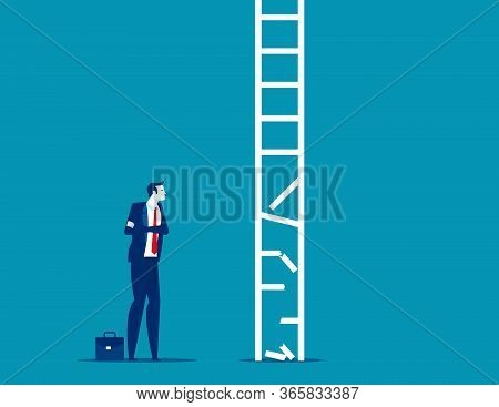 Business Person Look At Broken Ladder. Obstacle Business Concept