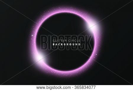 Glitter Pink Wave Neon Circle Ring Frame & Sparkle Flash Light Star Shimmer Vector On Black Backgrou